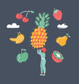 woman hold big pineapple vector image vector image