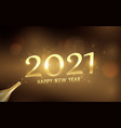 2021 with golden champagne bottle confetti light vector image