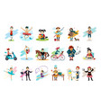 set of people in various actions males and