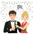a man and a woman celebrating new year vector image