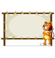 A tiger standing beside a wooden frame vector image vector image