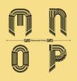 alphabet polynesian style in a set mnop vector image vector image