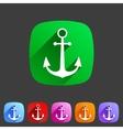 anchor flat icon sign symbol logo label set vector image vector image