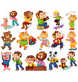 animals acting in human-like actions and poses vector image vector image