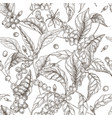 beautiful seamless pattern with coffea or coffee vector image vector image