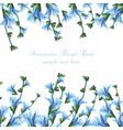 Beautiful Watercolor Blue flowers Wedding card vector image