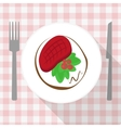 Beef steak with calad and tomato on white plate vector image vector image