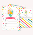 bright invitation card with cute fairy mermaid vector image vector image