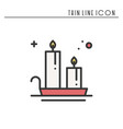 christmas candle line outline icon new year two vector image vector image