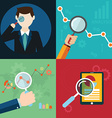 collection of flat and colorful search SEO and vector image