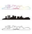 Colombo skyline linear style with rainbow vector image