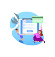concept online payment card tiny people vector image vector image