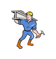 Construction Steel Worker Carry I-Beam Cartoon vector image vector image