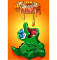 crocodile eating donut frosting that melts vector image vector image