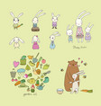cute cartoon hares and a bear easter bunnies vector image