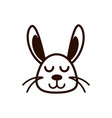 cute face rabbit animal cartoon icon thick line vector image