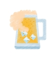 drawing mug glass beer foam ice drink vector image