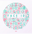 face id concept in circle with thin line icons vector image vector image