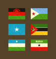 Flags of Malawi Djibouti Somalia Mozambique vector image vector image