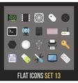 Flat icons set 13 vector image