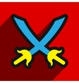 Flat with shadow Icon crossed swords on a colored vector image vector image