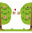 Funny owls sitting in a tree vector image vector image