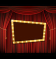 gold frame on red curtain vector image vector image
