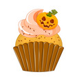 halloween purple cupcake on vector image