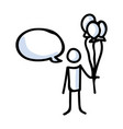 hand drawn stick figure holding balloon bouquet vector image vector image