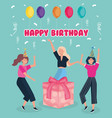 happy birthday celebrating women with gift vector image