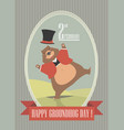 happy groundhog day with cute groundhog vector image