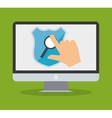 internet security computer hand touch search vector image