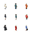 isometric person set of seaman hostess detective vector image vector image