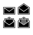 letter envelope symbols icons black outline set vector image