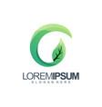 letter g leaf logo design vector image vector image