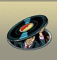 man under vinyl music and audio vector image