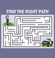 maze game finds the police way to the car police vector image vector image