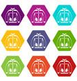 men winter jacket icon set color hexahedron vector image