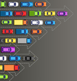 Road background with multicolored cars isolated on vector image vector image