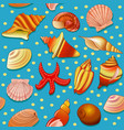 seamless background with shells and starfish vector image vector image