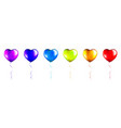 set colorful foil heart shaped balloons vector image vector image