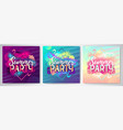 set colorful summer party posters vector image vector image