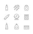 set line icons cosmetics vector image