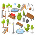set objects city park with architecture vector image