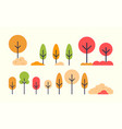 set of autumn trees icons in flat style autumnal vector image