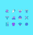 set simple line icons cricket vector image vector image