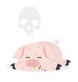 sick pig swine flu with dead vector image vector image
