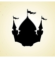 Silhouette of cartoon fortified castle with flags vector image