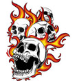 skull on fire with flames vector image vector image
