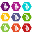 spray insects icons set 9 vector image vector image